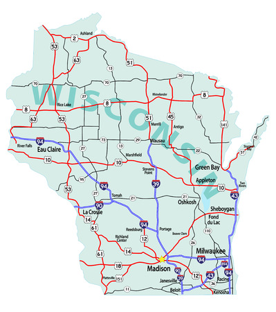 Wisconsin state road map with Interstates, U.S. Highways and state roads. All elements on separate layers for easy editing. Map created July 20, 2010.   Source: Public domain National Planning Network (http:www.fhwa.dot.govplanningnhpn) and United St