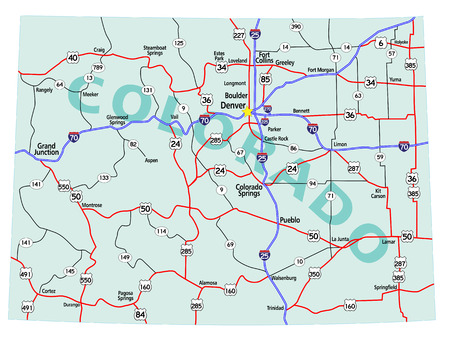 Colorado state road map with Interstates, U.S. Highways and state roads. All elements on separate layers for easy editing. Map created July 21, 2010.    Source: Public domain National Planning Network (http://www.fhwa.dot.gov/planning/nhpn/) and United St