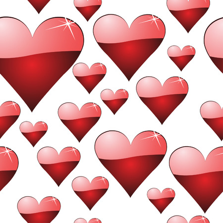 Seamless sparky, shiny hearts, tiles endlessly.