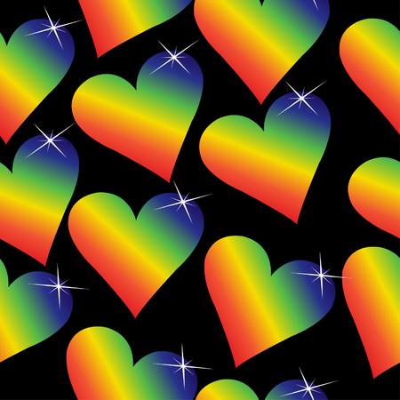 Rainbow hearts with sparkles on a black background, will tile seamlessly. Illusztráció