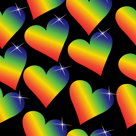 shiny hearts: Rainbow hearts with sparkles on a black background, will tile seamlessly. Illustration