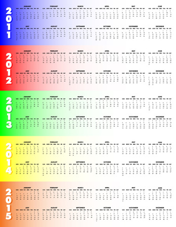 5-Year Calendar, 2011 through 2015 on colorful background, Sunday start. Vectores
