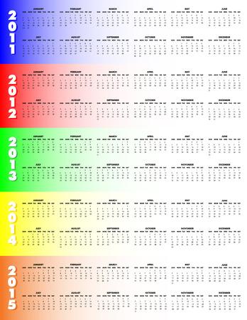 event planner: 5-Year Calendar, 2011 through 2015 on colorful background, Sunday start. Illustration