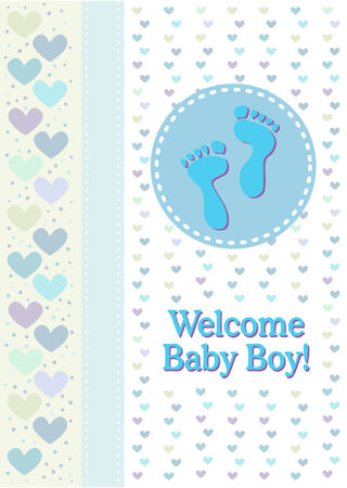 A baby boy birth announcement with footprints and hearts. Vector