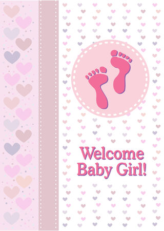 baby girl: A baby girl birth announcement with footprints and hearts.