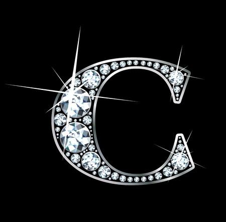 diamond letter: a stunningly beautiful diamond c Illustration