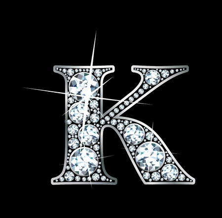 diamond letters: A stunningly beautiful diamond K Illustration
