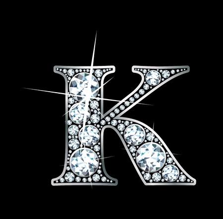 diamond letter: Un bellissimo diamante k Vettoriali