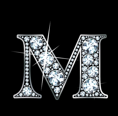 diamond letters: a stunningly beautiful diamond M
