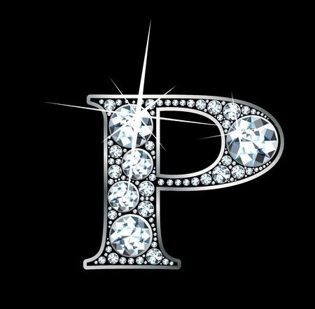 diamond letter: Un bellissimo diamante P Vettoriali