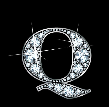 diamond letters: A stunningly beautiful diamond Q