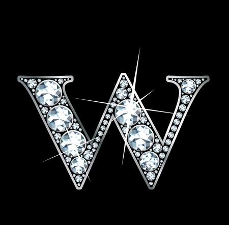 diamond letter: un bellissimo diamante W Vettoriali