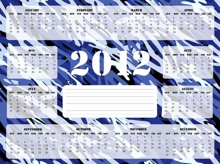 camoflage: A 2012 calendar on blue camoflage background, Sunday start.