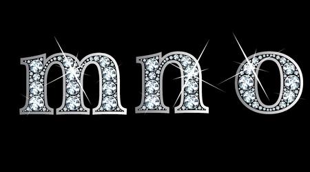 驚くほど美しい m、n、o はダイヤモンドと銀で設定します。  イラスト・ベクター素材