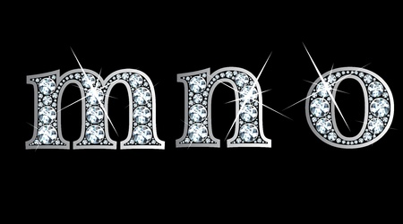 letter n: Stunningly beautiful m, n and o set in diamonds and silver.