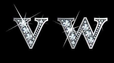 驚くほど美しい v そして w ダイヤモンドと銀で設定します。  イラスト・ベクター素材