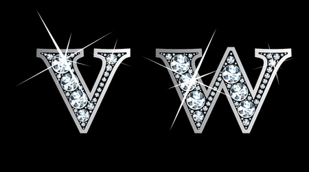 diamond letters: Stunningly beautiful v and w set in diamonds and silver.