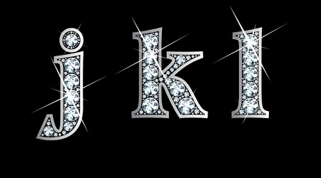 Stunningly beautiful j, k and l set in diamonds and silver.  イラスト・ベクター素材