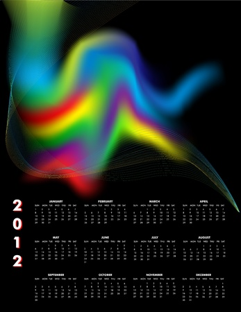 event planner: A 2012 calendar with the rainbow swirl, Sunday start. Illustration