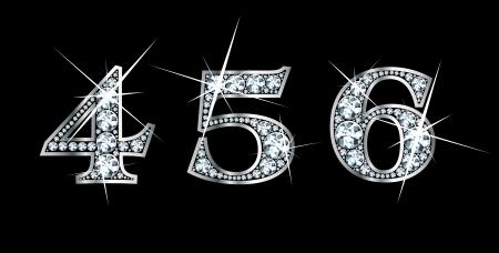 다이아몬드와 실버에서 놀랄만큼 아름다운 4, 5, 6 세트. 스톡 콘텐츠 - 11497182