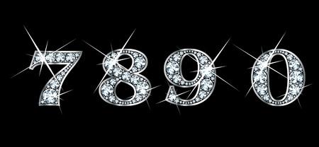 驚くほど美しい 7、8、9、0 はダイヤモンドと銀で設定します。  イラスト・ベクター素材