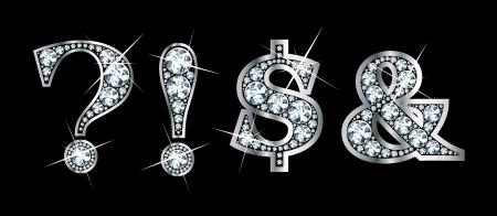 Verbluffend mooie leestekens in diamanten en zilver, op te nemen vraagteken, uitroepteken, dollar teken en teken. Stock Illustratie