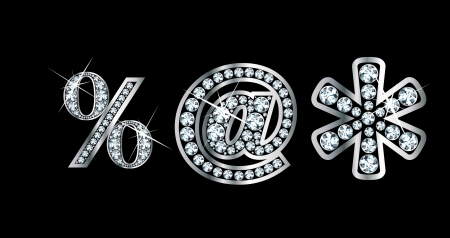 """diamond letter: Stunningly segni di punteggiatura belle fissati in diamanti e argento, per includere percentuale """"a"""" segno (arroba) e l'asterisco."""