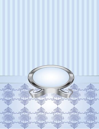 knotted: A blue pearl frame with pinstripe and knotted damask background. Illustration