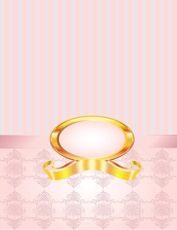 perle rose: Un cadre rose perle avec un fond de damas rayures et nou�.