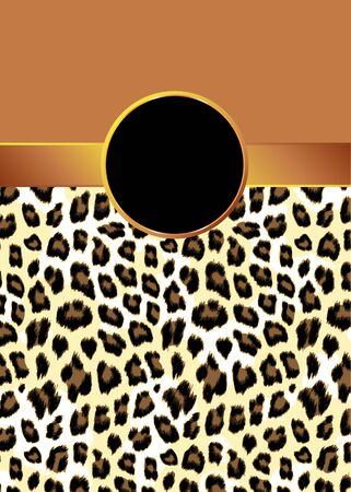 A leopard print background with a gold ribbon and rosette for your text.