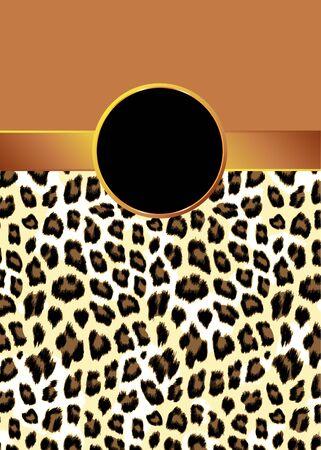 ruban or: Un fond imprim� l�opard avec un ruban d'or et rosette pour votre texte.