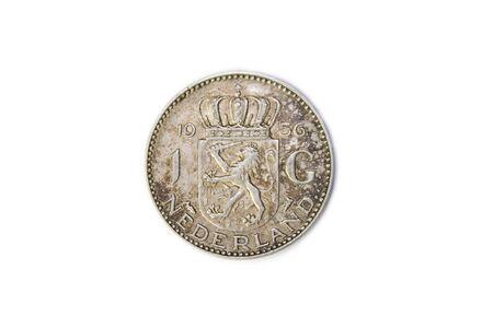 A 1956 Netherlands Juliana Silver Gulden Coin, reverse side. Circulated condition. Stock Photo