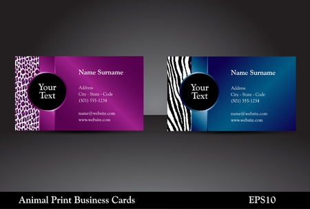 Fancy business card templates with leopard and zebra prints with wild colors Stock Vector - 13406727