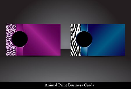 Fancy business card templates with leopard and zebra prints  Raster  Stock Photo