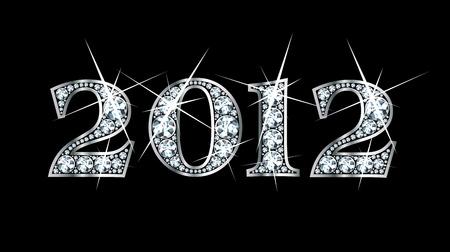 驚くほど美しい 2012 ダイヤモンドやシルバーに設定  イラスト・ベクター素材