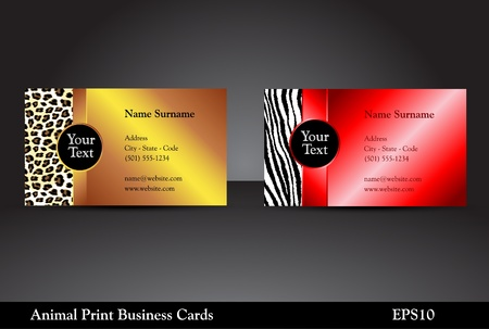 Fancy business card templates with leopard and zebra prints with wild colors
