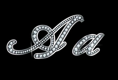 驚くほど美しいスクリプト A とダイヤモンドと銀のセット。  イラスト・ベクター素材