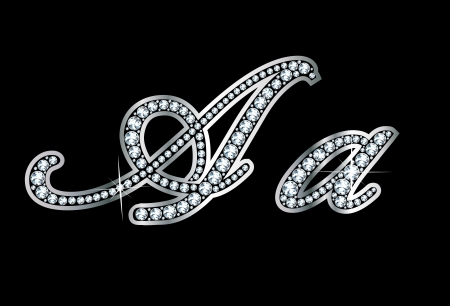 Stunningly beautiful script A and a set in diamonds and silver. Vector