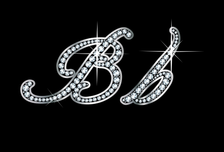 script: Stunningly beautiful script B and b set in diamonds and silver.