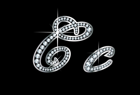 letter c: Stunningly beautiful script C and c set in diamonds and silver. Illustration