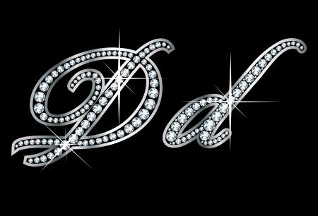 驚くほど美しいスクリプト D と d ダイヤモンドと銀で設定。