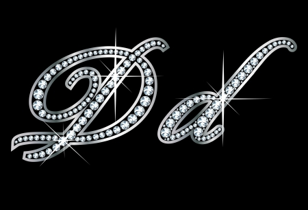 Verbluffend mooi script D en d in diamanten en zilver. Stock Illustratie
