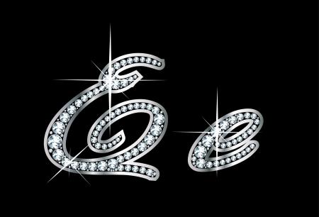 驚くほど美しいスクリプト E および e ダイヤモンドと銀で設定します。  イラスト・ベクター素材