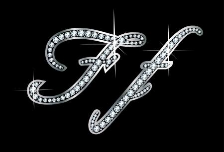 驚くほど美しいスクリプト F と f ダイヤモンドと銀で設定。