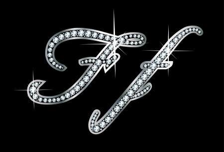 Stunningly beautiful script F and f set in diamonds and silver. Vector