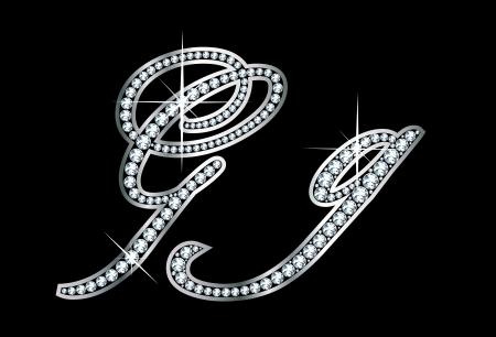 驚くほど美しいスクリプト G と g はダイヤモンドと銀で設定します。  イラスト・ベクター素材
