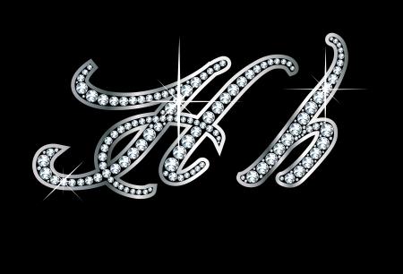 Verbluffend mooi script H en h in diamanten en zilver.
