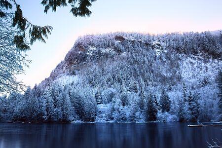 Sunrise on the High Mountain Lake, Lake Walker with Mount Enumclaw towering above it, Cascade Mountain Range, just north of Mount Rainier, Washington, USA. Stock Photo - 17292356