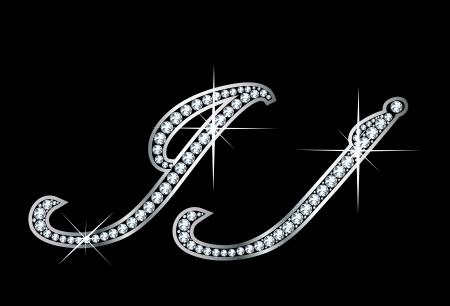 驚くほど美しいスクリプト J と j は、ダイヤモンドやシルバーで設定します。