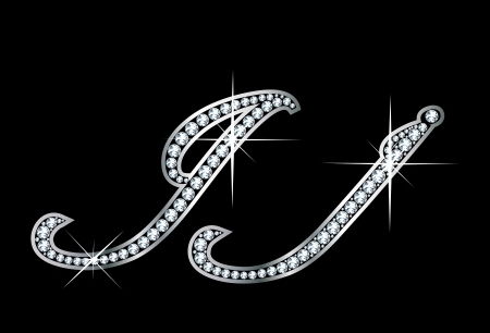 Stunningly beautiful script J and j set in diamonds and silver. Vectores